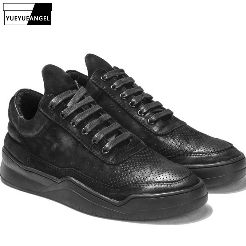 Italian Designer Retro Real Cow Leather Shoes Men Fashion High Top Trainer Sneakers Thick Platform Lace Up Casual Zapatos Hombre