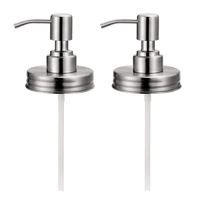 Double Stainless Steel Soap Pump And Lotion Dispenser Lid,Replacement Rust Proof Soap And Lotion Dispenser Pump For Mason Jars O