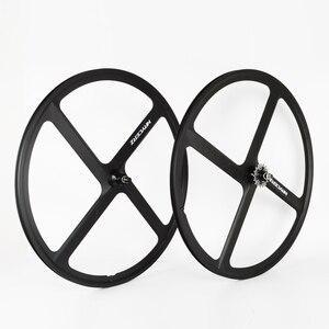 700C односкоростные колеса для шоссейного велосипеда из магниевого сплава с фиксированной передачей колеса с 4 спицами