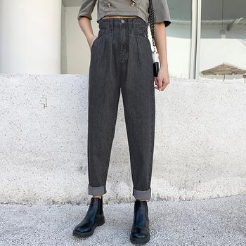 Jesienne dżinsy kobieta dżinsy dla mamy spodnie wysokiej talii spodnie jeansowe damskie Vintage proste spodnie dżinsy pełnej długości Feminino luźne spodnie tanie i dobre opinie COTTON Elastan ATF-1982 Wysoka Przycisk fly Kobiety Streetwear Plaid REGULAR