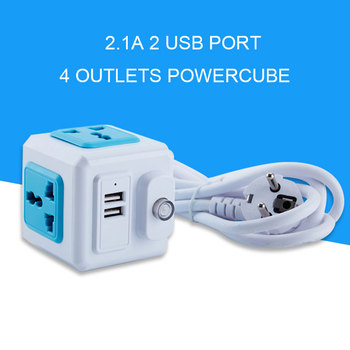 EU RUS Plug Universal Outlet USB power Strip Multi Powercube USB Outlets Extender Electric 1.8M Cord Socket Network Filter 10A image