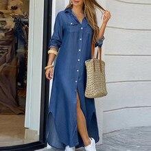 Elegante maxi vestido de praia das mulheres botão para baixo vestido de camisa longa verão corrente impressão lapela pescoço vestido de festa casual manga longa vestido