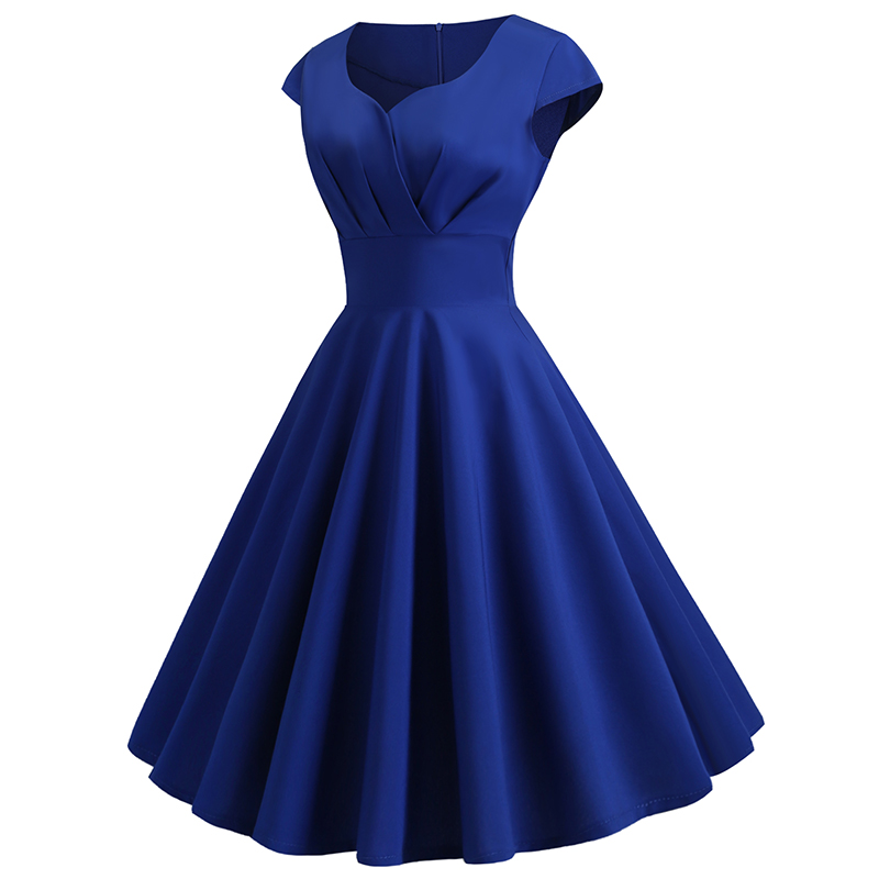 Royal Blue Bridesmaids Dress Elegant Retro Hepburn V-neck Short-sleeved Large Dress Prom Club Woman Dress For Party And Wedding