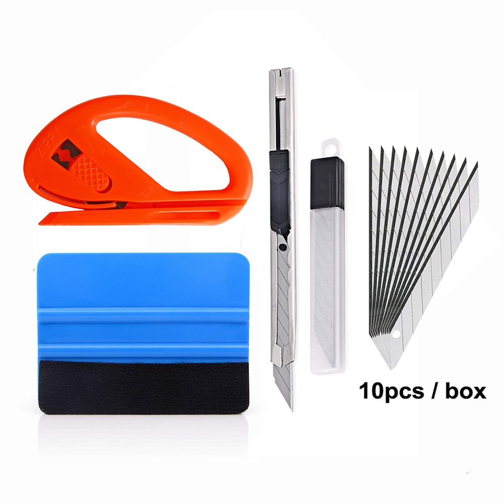 EHDIS 4pcs Car Tools Carbon Fiber Vinyl Wrap Film Squeegee Scraper Car Sticker Install Kit Cutter Knife Car Styling Accessories