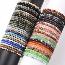 4mm chakra grânulos energia pulseira natural ágata redonda ônix pedra estiramento pulseira pulseiras para mulheres artesanal yoga jóias