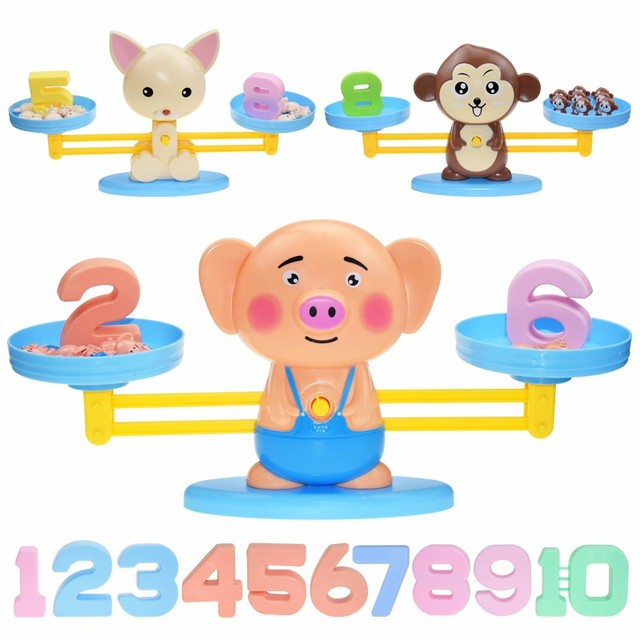 Montessori Math Toy Digital Monkey Balance Scale Educational Math Penguin Balancing Scale Number Board Game Kids Learning Toys 4