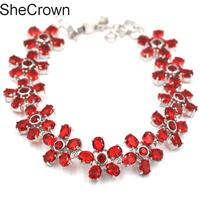 5x4mm Romantic FlowersRed Blood Ruby SheCrown Ladies Wedding Silver Bracelet Bangle 8.0 8.5in