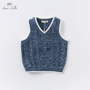 DBA14631 dave bella autumn kids boys handsome solid coat children boy fashion sleeveless vest image