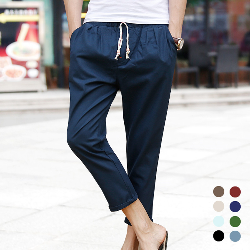 Summer Men'S Wear Linen Pants Summer Day Cotton Linen Casual Pants 9 Points Pants MAN'S Ninth Pants Couples Skinny Harem Pants