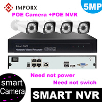 IMPORX 4CH 5MP POE NVR Super HD Record CCTV Security System 5MP Indoor Outdoor PoE IP Camera H.265 IR P2P Video Surveillance Kit