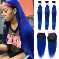 Ali Coco 1B Blue Ombre 3 Bundles With Closures Remy Brazilian Human Hair Weave Bundles With Lace Closures