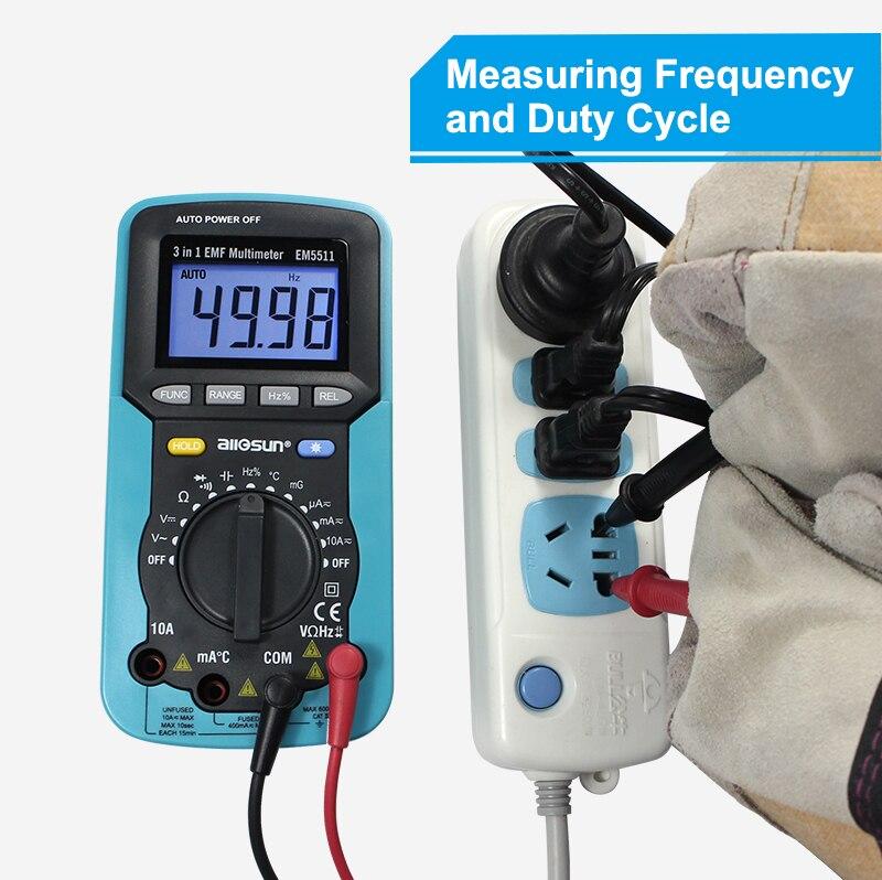ALL SUN EM5511 3in1 Auto Range Digital Multimeter Voltmeter Ammeter Ohmmeter DC AC EMF Multimeter Automotive Tester