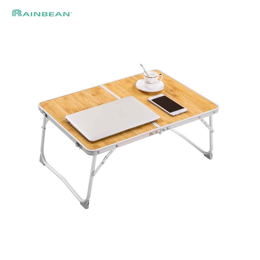 Składany laptop noga stołu-bambusowe ziarno drewna Lapdesk śniadanie łóżko taca do serwowania przenośny stół piknikowy stojak na notebooka czytanie Holde