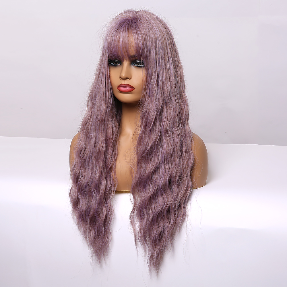 ALAN EATON Long Wavy Wigs Women's wig with Bangs Heat Resistant Fibre Synthetic Hair Cosplay Party Lolita Cute Purple Wigs Girls
