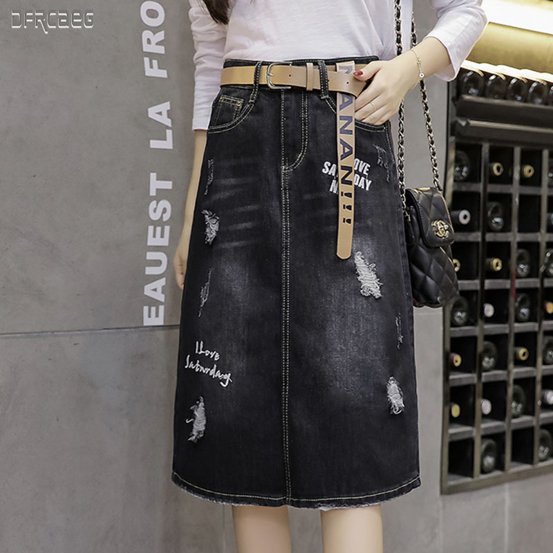 High Quality Autumn 2019 New Women's Hole Mid Denim Skirt Cotton Casual Back Split Ladies Skirt Black Slim Mid Jean Skirt Femme
