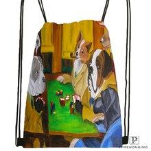 Пользовательские собаки играющие покер походная сумка на шнурке для мужчин и женщин милый рюкзак дети ранец(черная спина) 31x40 см#180531-01-36