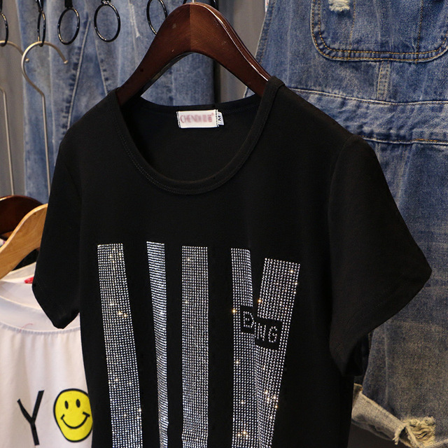 Short sleeve T-shirt women Summer clothes New 2020 fashion Hot drilling printing loose cotton Bottoming shirt Pullovers C1043 3