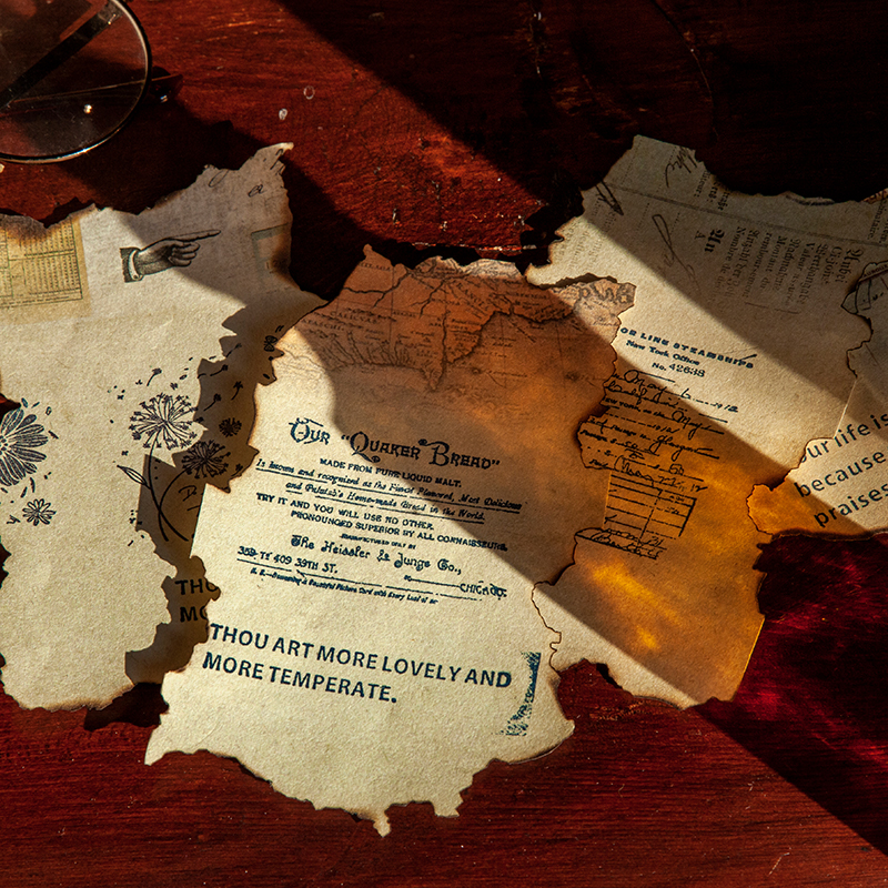 Dimi 30 Sheets Atlantic Bills Series Vintage Splint Notes DIY Scrapbooking Paper Decoration Album School Creativity Notepads