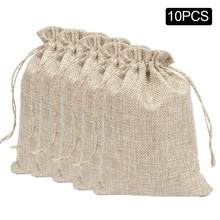 10PCS Burlap Bags Drawstring Bag Party Favor Pouches Gift Bags For Baby Shower Wedding Party Presents For Home Storage(China)