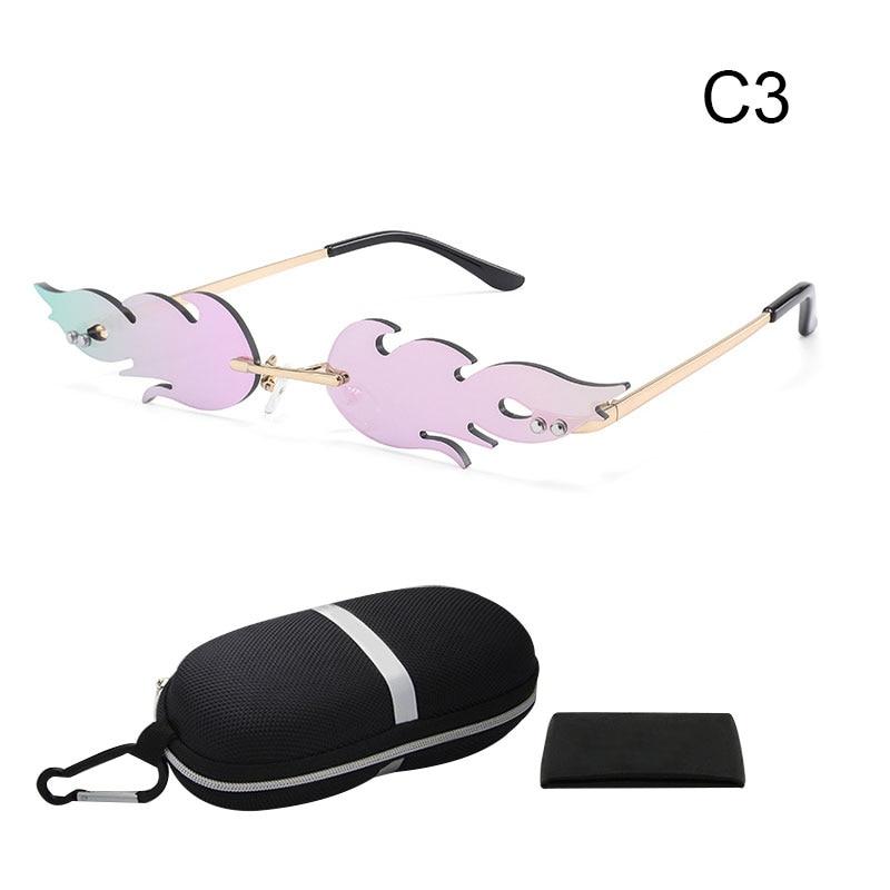 Fashion Frameless Sunglasses With Storage Box Set Rimless Wave Sun Glasses For Men Women Outdoor TC21