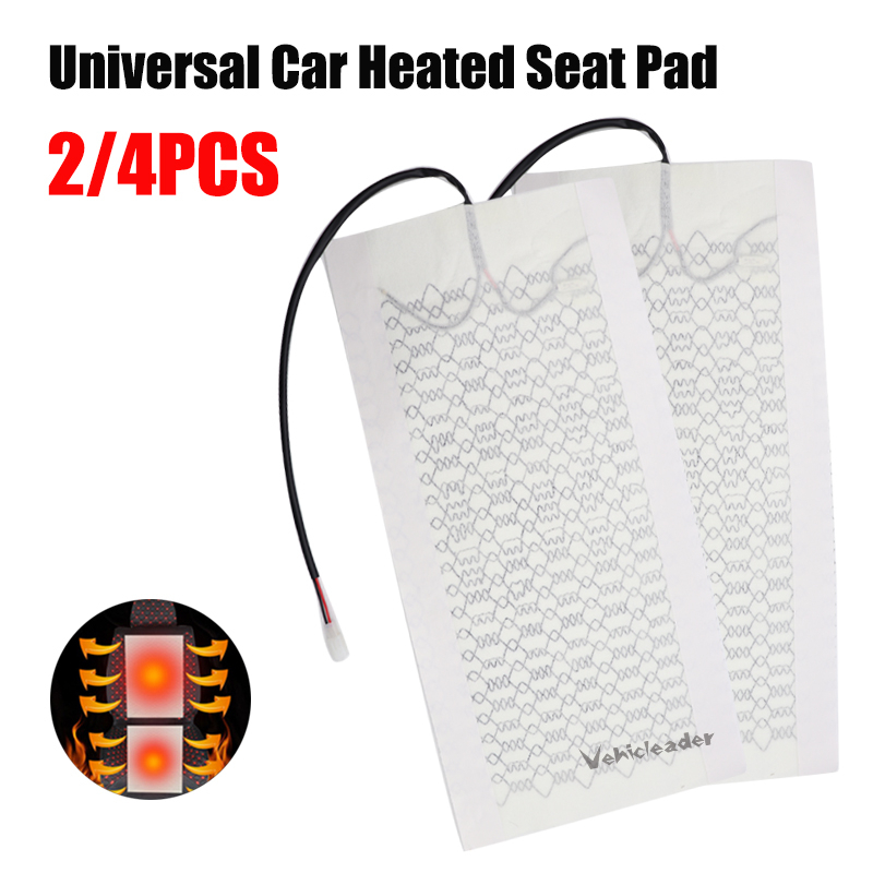 2x/4x 12V Universal Car Heated Seat Covers Pad Carbon Fiber Heated Auto Car Seat Heating Pad Winter Warmer Heater Mat 48cmx28cm