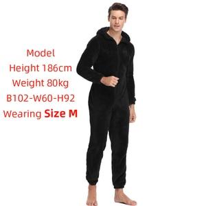 Image 2 - Мужская плюшевая флисовая Пижама теплая зимняя Пижама комбинезон костюмы Женская одежда для сна кигуруми пижамные комплекты с капюшоном для взрослых мужчин