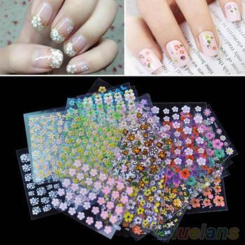 30 hojas mixto uñas florales arte pegatinas calcomanías para manicura DIY accesorios de diseño de Arte de uñas herramientas y