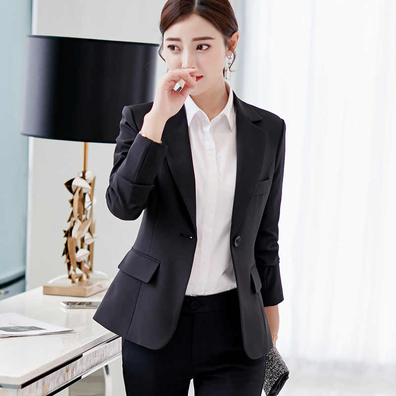 Jaket Wanita Blazer 2019 Langit Biru Lengan Lengan Lengan Lengan Panjang Satu Tombol Slim Kantor Wanita Jaket Wanita Atasan Blazer feminino