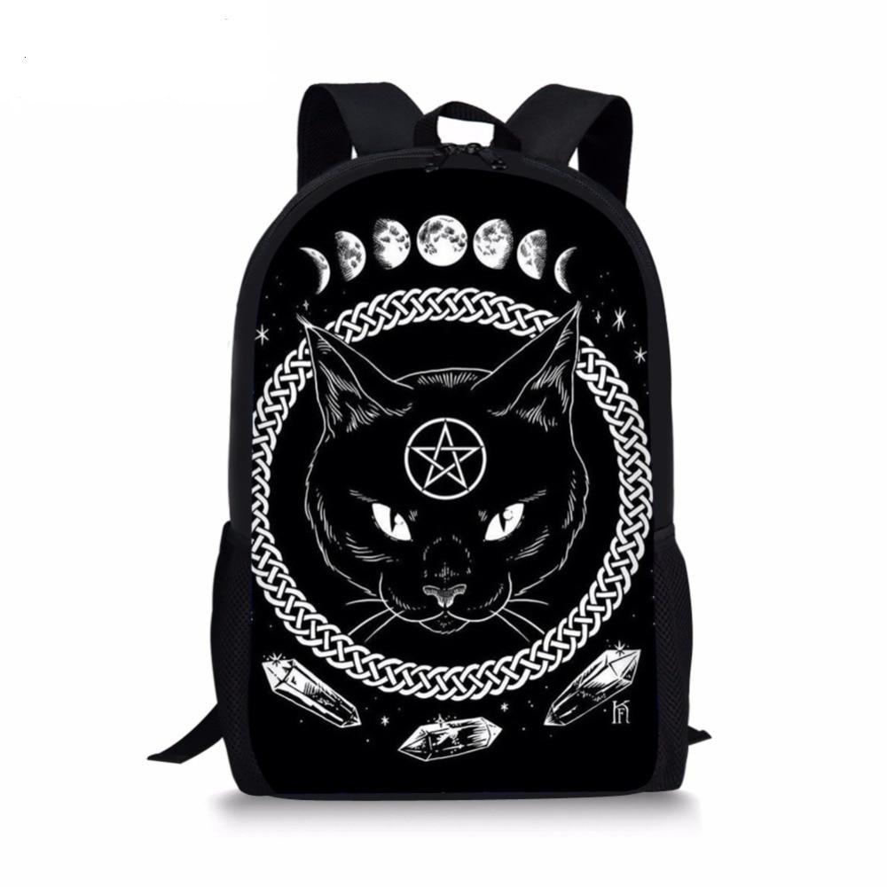 Gothic Moon Phase Black Cat Print Large Capacity Schoolbag For Teenager Girls 3Pcs/Set School Rucksack Children Backpack