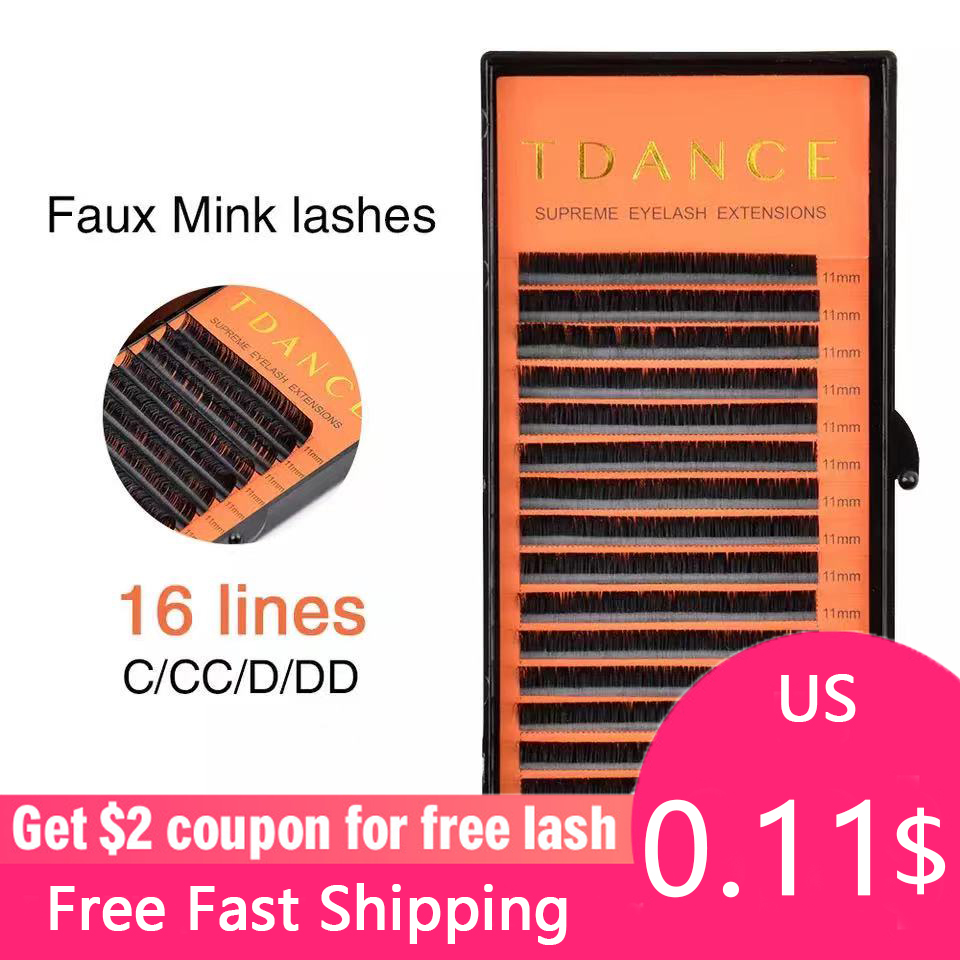 TDANCE Individual Eyelash Extension Supplies False Professional Faux Mink Eyelashes Extensions Russian Volume Lashes