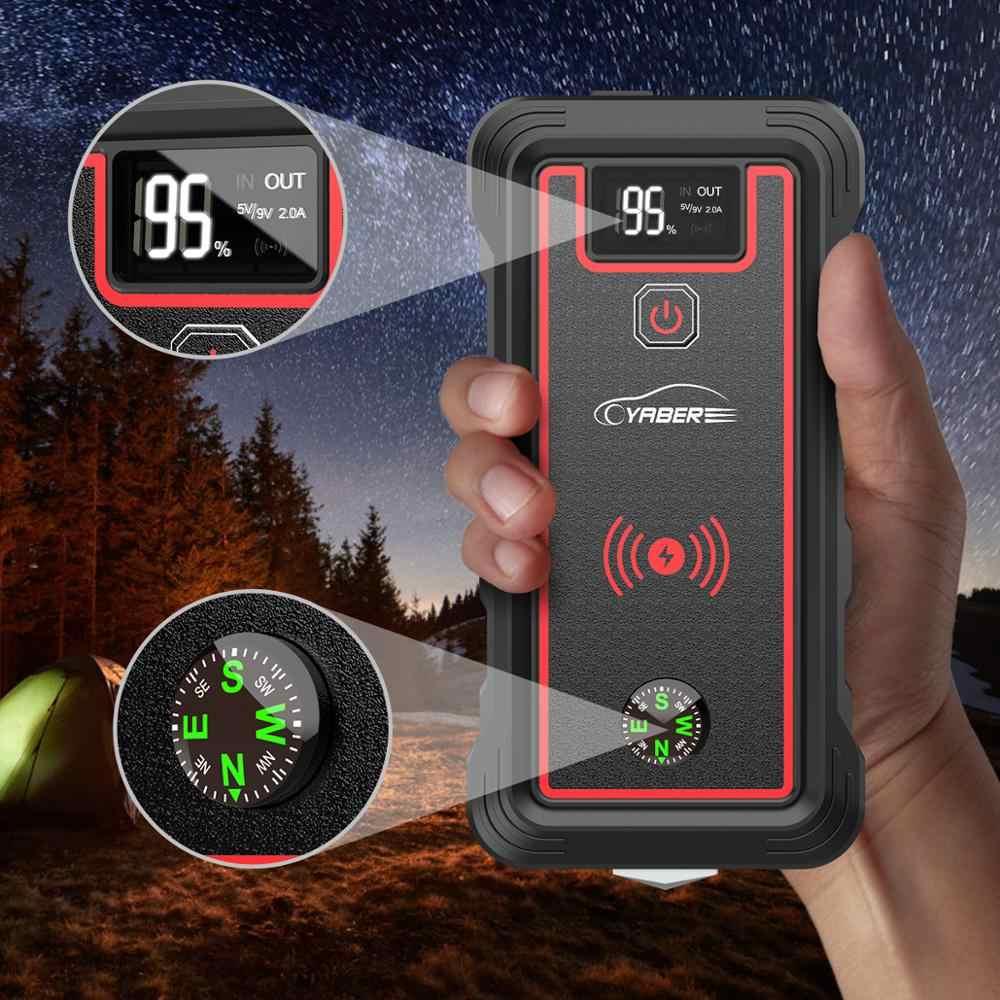 23800Mah Piek 2500A Auto Jump Starter Power Bank Auto Batterij Jump Starter Met Draadloze Oplader Lcd-scherm