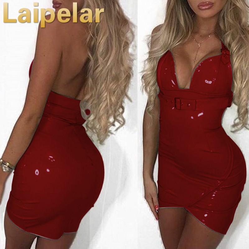 Laipelar женское сексуальное платье из искусственной кожи с глубоким v-образным вырезом и лямкой через шею 2020 модное платье без рукавов с поясом...