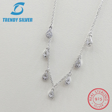Real 925 Sterling Silver Pendant Necklace Chain Choker 45cm Cubic Zircon for Wom