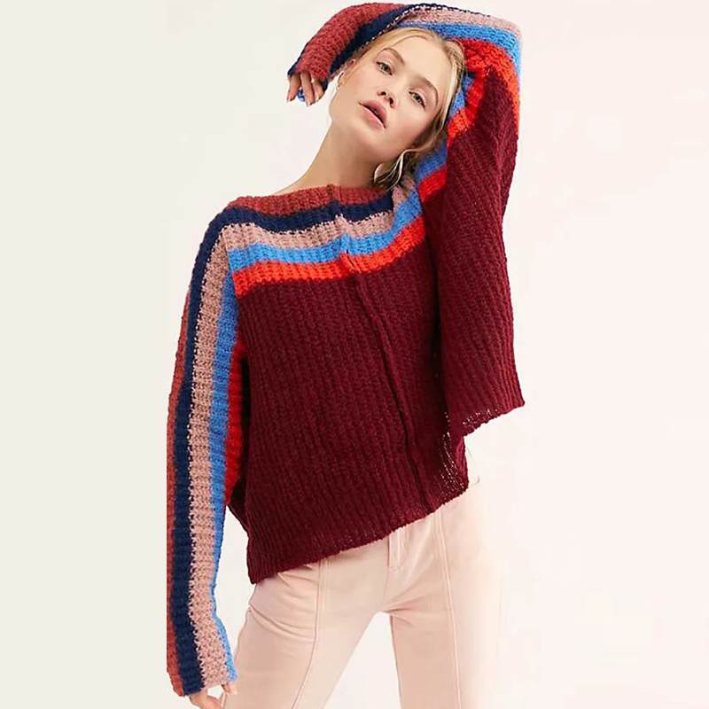 Image 5 - TEELYNN oversize Rainbow stripes sweater pullovers long sleeve women sweater 2019 autumn winter warm boho sweaters loose sweaterPullovers   -
