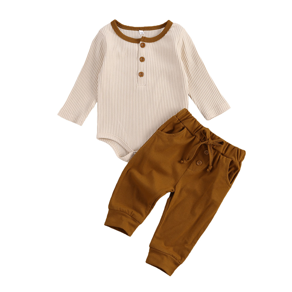 0-18M Newborn Baby Boys Clothes Sets Solid Button Long Sleeve Romper Tops Bottoms Pants