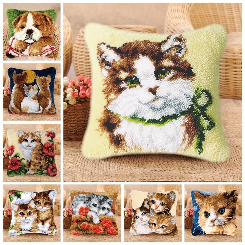 DIY Cat And Dog Latch Hook Pillow Knooppakket Smyrna Klink Haak Kleed Bloemen Cross Stitch Pillows Cushion Button Package Pillow