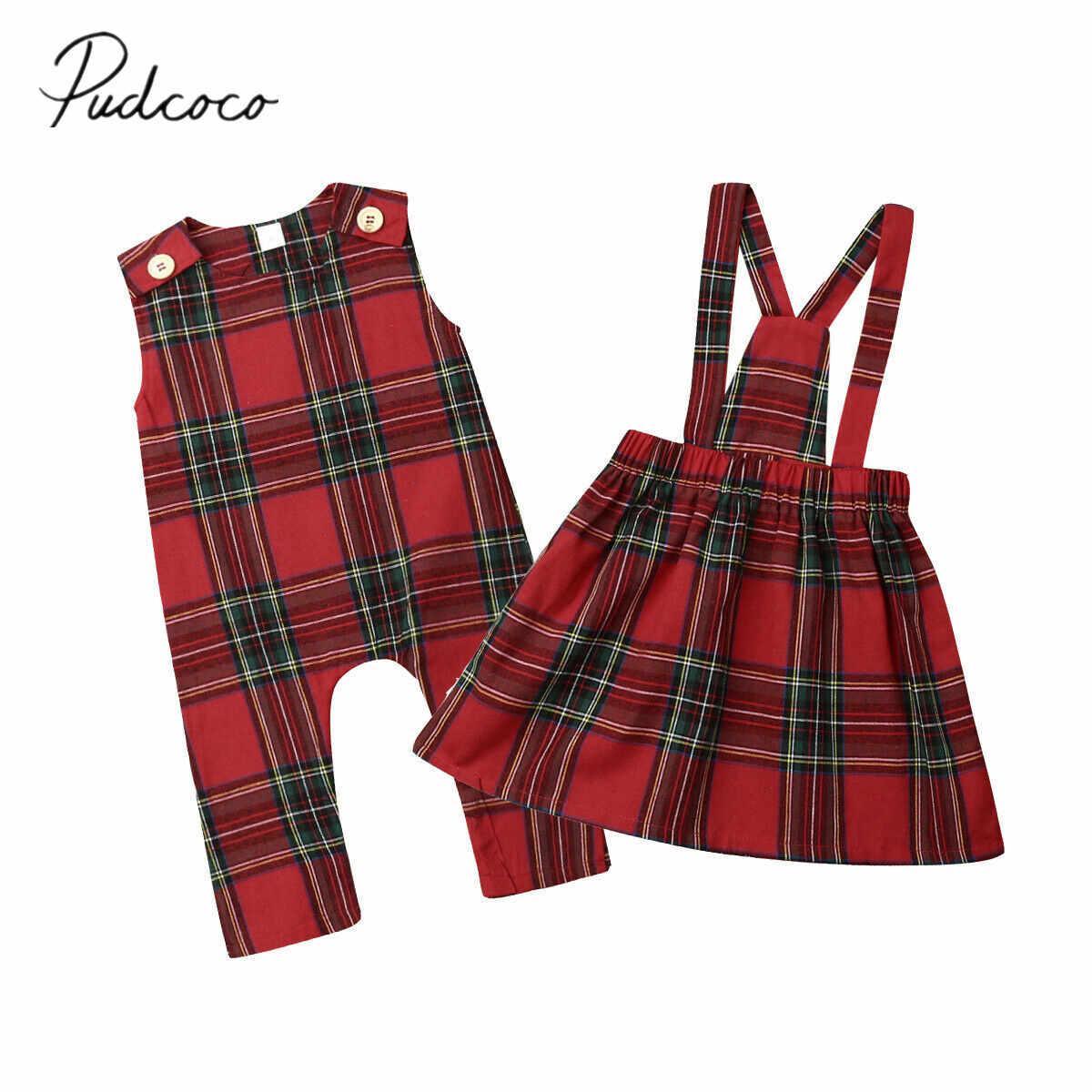 2019 ベビー夏の服クリスマス姉妹一致クリスマスノースリーブ服ロンパース女の赤ちゃん赤チェックチェック柄の衣装