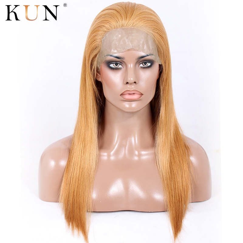#27A Strawberry Blonde Lace Front Human Hair Wigs With PU Straight Hair 13x4 Lace Front Wig PrePlucked 180 250 Density Lace Wig