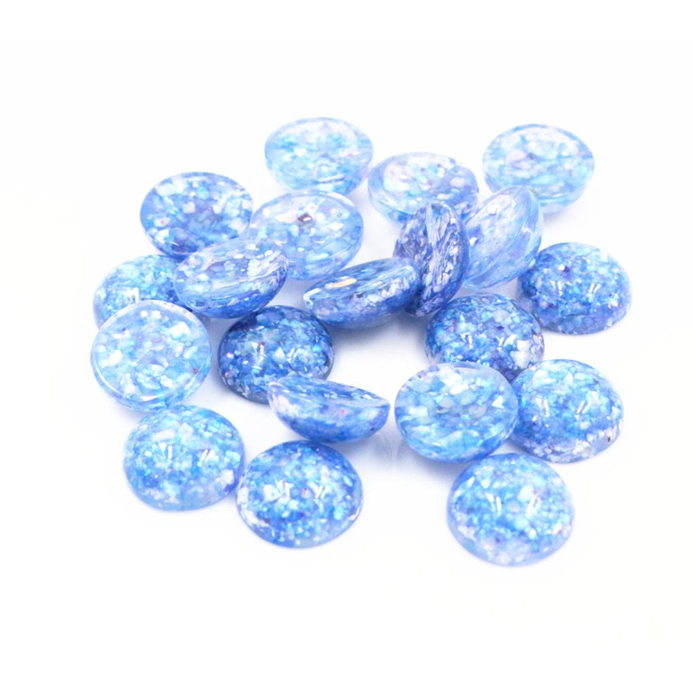 New Style 40pcs 12mm Blue Colors Built-in Real Shells Style Flat Back Resin Cabochons Fit 12mm Cameo Base Cabochons-W3-04