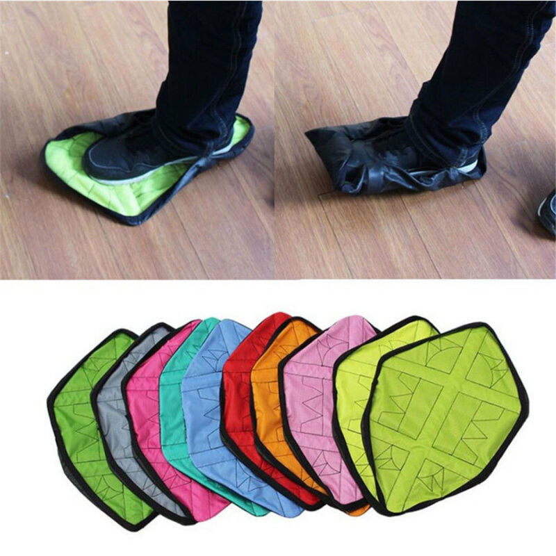 1Pair Handsfree Automatic Cover Step Sock Shoe Cover Reusable One Step Hand Free Shoe Dust Covers Durable Portable Shoe Covers
