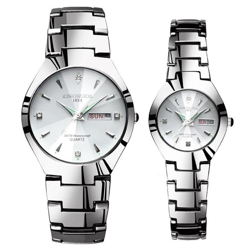 Часы для влюбленных Роскошные Кварцевые наручные часы для мужчин и женщин Hodinky Dual Calender Week steel Saat Reloj Mujer Hombre парные часы - Цвет: Couple Silver White