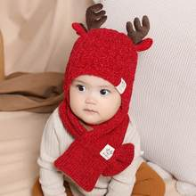 2 Pcs/set Christmas Newborn Baby Hats Knitted Warm Antlers Cap Protects Ear Bonnet Baby Winter Caps + Scarf Suits N ew Arrival(China)
