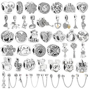 Couqcy Silver 925 Minnie Mickey Safety Chain Crown Boy Pendant Fit Pandora Charm Bracelet DIY Women Silver Original Bead Jewelry(China)