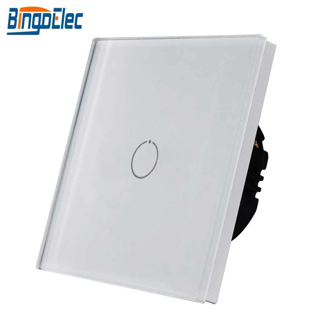 Bingoelec Touch Switch Dinding Kaca Kristal Panel Lampu Switch 1Gang 2 Gang 3 Gang 1way Switch S101 Uni Eropa/UK Standar 110V-240V