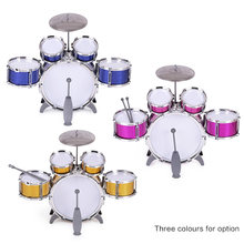 Children Kids Drum Set Musical Instrument Toy 5 Drums with Small Cymbal Stool Drum Sticks for Boys Girls drum set drums(China)