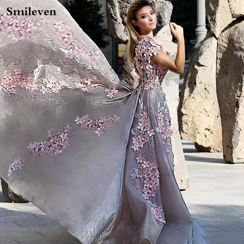 Smileven algerien Formal Evening Dresses 2020 Sexy V Neck 3D Flowers Evening Party Gowns Side Split Peplum Occasion Prom Gown