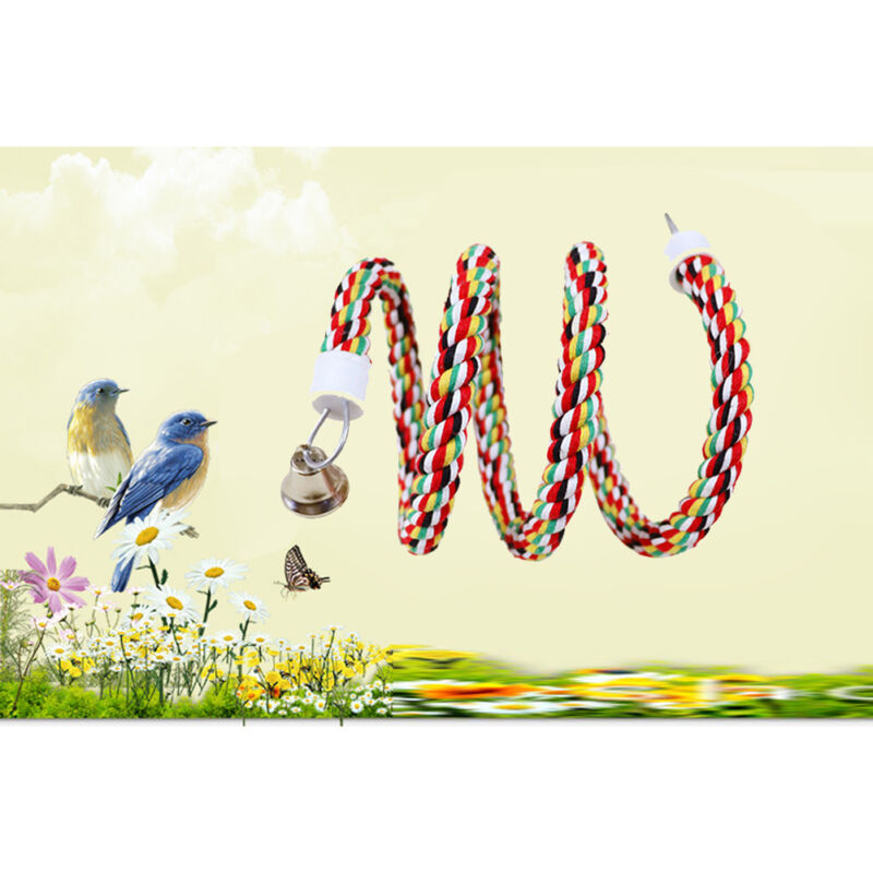 165 Cm Adeeing Bird Perch Toy Spiral Cotton Rope Chewing Bar Parrot Swing Climbing Standing Toys With Bell Bird Supplies