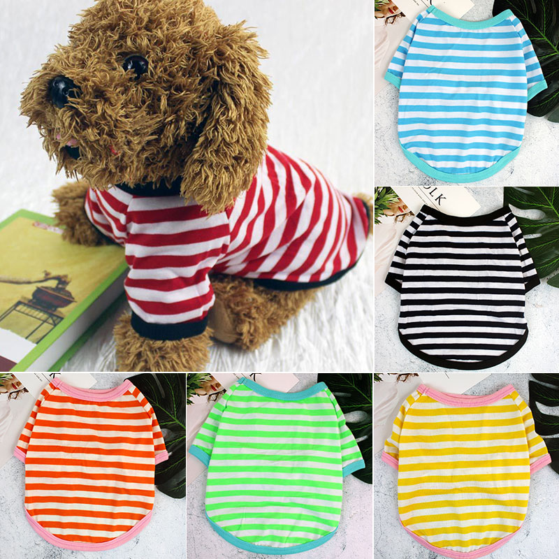 Dog Clothes Soft T-shirt Thin Vest Striped Round Neck T-shirt For Small And Medium Dogs Pet Puppy Vest T-shirt Dog Cloth