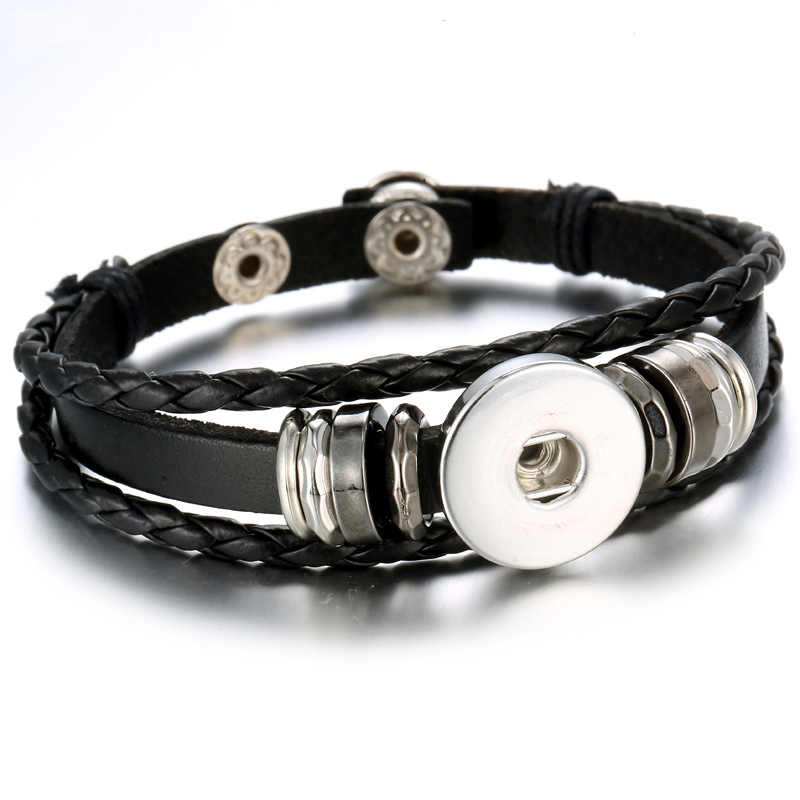 Snap Button Bracelet Adjustable Handmade Braided Brown Black Leather Bracelet Can Be Matched with 18mm Button Decoration