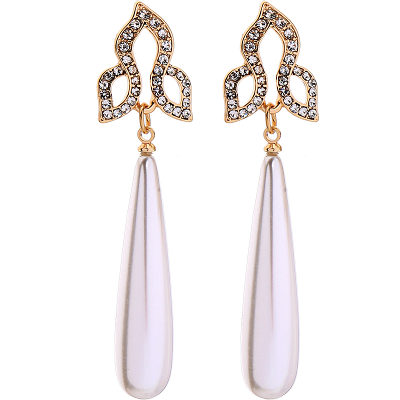 2019 Water Drop Acrylic Pearl Crystal Dangle Earrings For Women Gold Color Alloy Ear Pin Fashion Jewelry in Drop Earrings from Jewelry Accessories